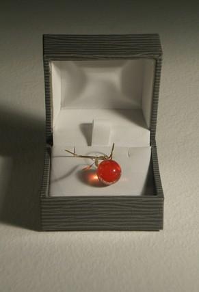 Fruit - Amandine Le Marec / verre transparent rouge, laiton et écrin - 1x2x2 cm - 12 exemplaires - 200 €