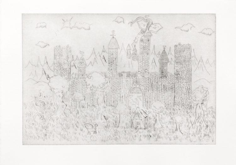 Sans titre (château) - Shan Serre Sanchez Guillot / eau forte sur papier - 12 exemplaires - 40€