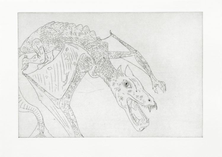 Sans titre (dragon) - Shan Serre Sanchez Guillot / eau forte sur papier - 12 exemplaires - 40€